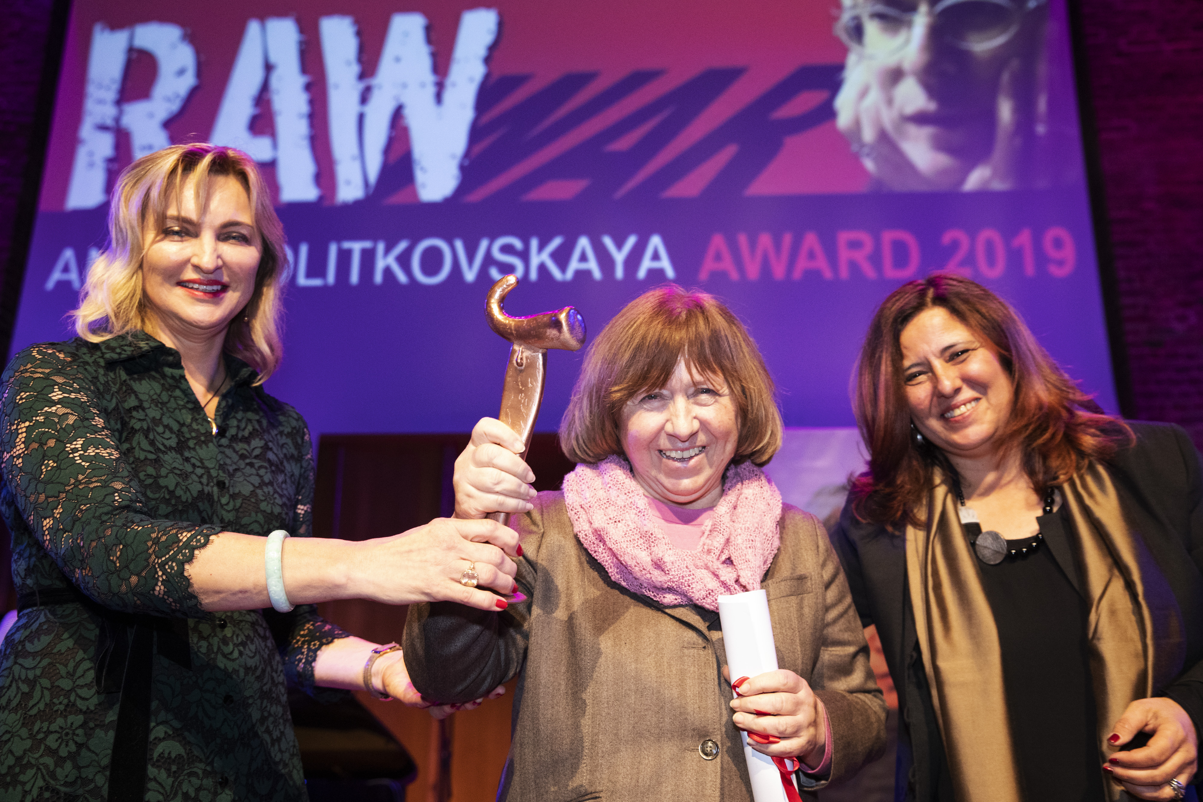 RAW in WAR honours Nobel Laureate in Literature, Belarusian writer, Svetlana Alexievich at Anna Politkovskaya Award ceremony in London